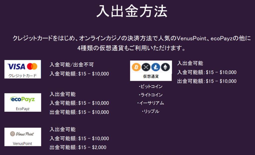 カジノミー_入出金方法
